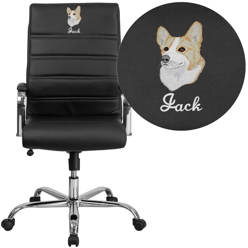 Flash Furniture Embroidered High Back Black Leather Executive Swivel Chair with Chrome Base and Arms (GO-2286H-BK-EMB-GG)
