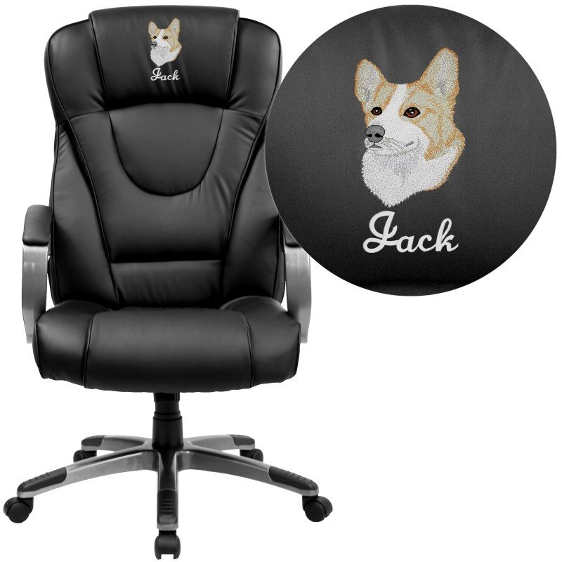 Flash Furniture Embroidered High Back Black Leather Executive Swivel Office Chair (BT-9069-BK-EMB-GG)
