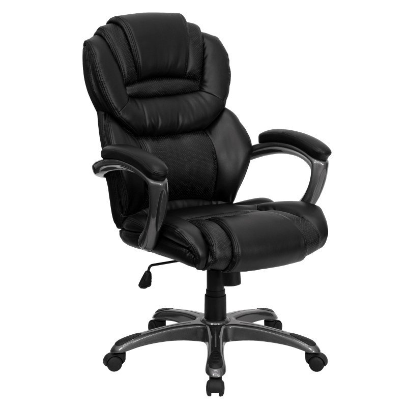 Flash Furniture Embroidered High Back Black Leather Executive Swivel Office Chair with Leather Padded Loop Arms (GO-901-BK-EMB-GG)