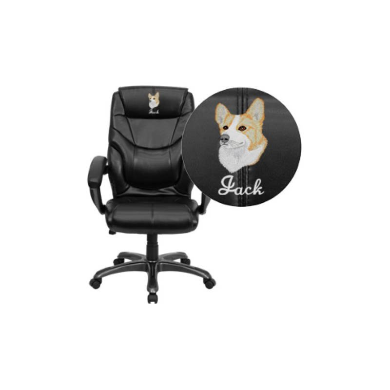 Flash Furniture Embroidered High Back Black Leather Overstuffed Executive Swivel Office Chair (GO-724H-BK-LEA-EMB-GG)