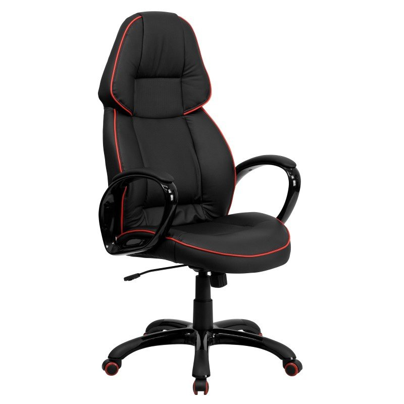 Flash Furniture Embroidered High Back Black Vinyl Executive Swivel Office Chair with Red Piping Border (CH-CX0248H01-VEN-EMB-GG)