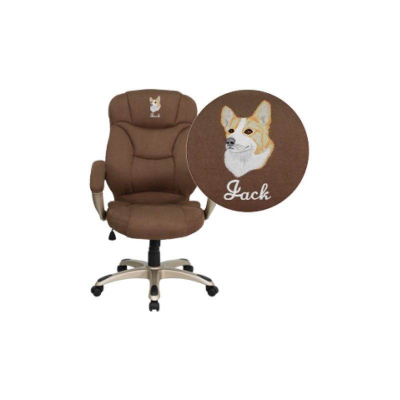 Flash Furniture Embroidered High Back Brown Microfiber Contemporary Executive Swivel Office Chair (GO-725-BN-EMB-GG)