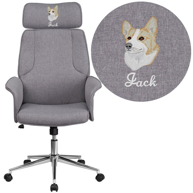 Flash Furniture Embroidered High Back Gray Fabric Executive Swivel Chair with Chrome Base and Fully Upholstered Arms (CH-CX0944H-GY-EMB-GG)