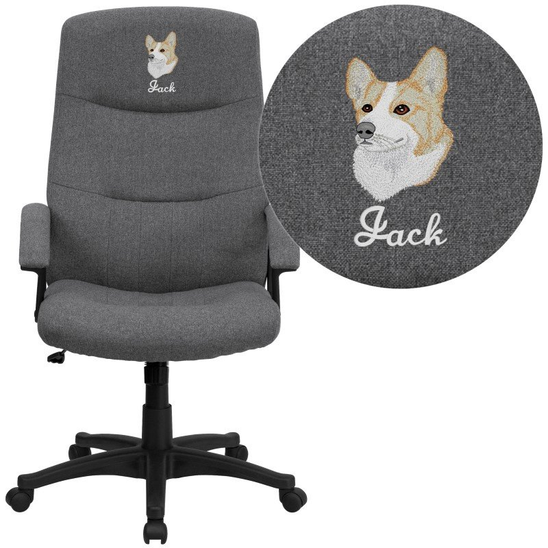 Flash Furniture Embroidered High Back Gray Fabric Executive Swivel Office Chair (BT-134A-GY-EMB-GG)
