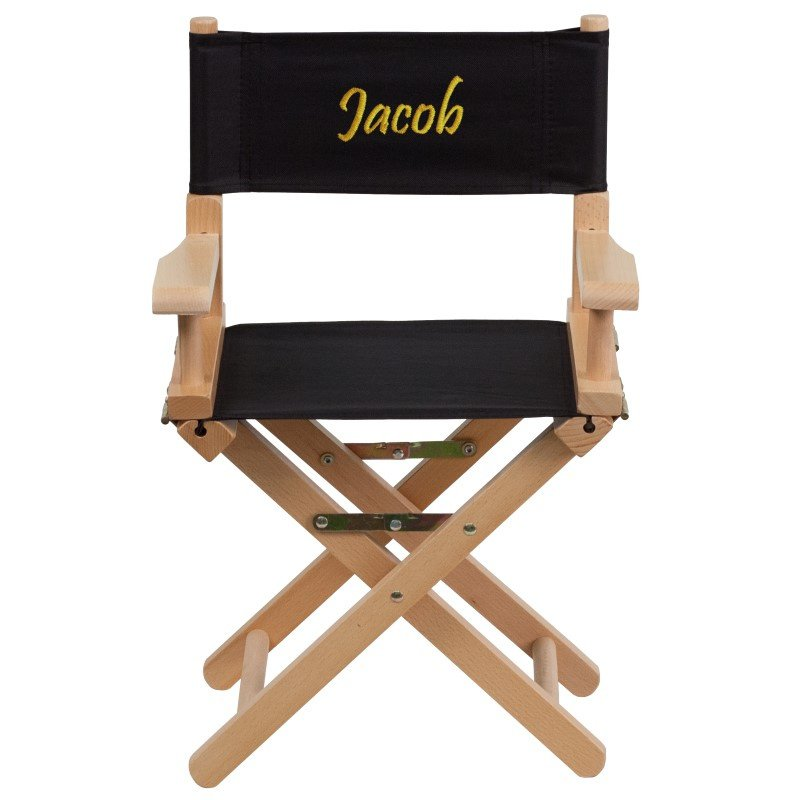Flash Furniture Embroidered Kid Size Directors Chair in Black