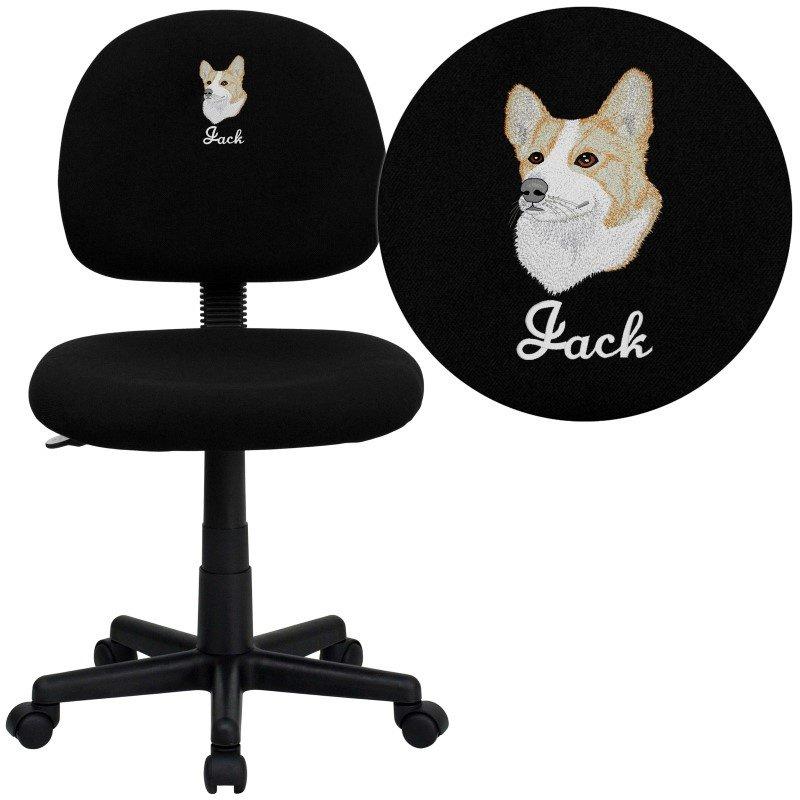 Flash Furniture Embroidered Low Back Ergonomic Black Fabric Swivel Task Chair (BT-660-BK-EMB-GG)
