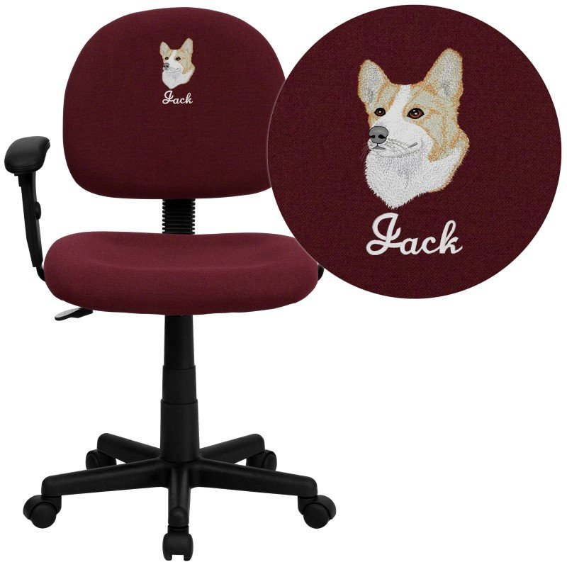 Flash Furniture Embroidered Low Back Ergonomic Burgundy Fabric Swivel Task Chair with Height Adjustable Arms (BT-660-1-BY-EMB-GG)