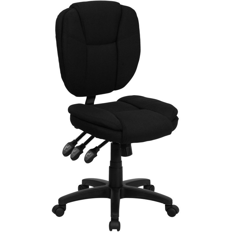 Flash Furniture Embroidered Mid-Back Black Fabric Multi-Functional Ergonomic Swivel Task Chair (GO-930F-BK-EMB-GG)