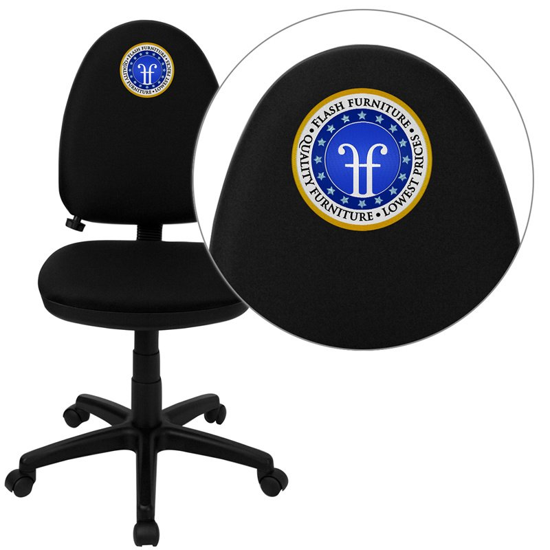 Flash Furniture Embroidered Mid-Back Black Fabric Multi-Functional Swivel Task Chair with Adjustable Lumbar Support (WL-A654MG-BK-EMB-GG)