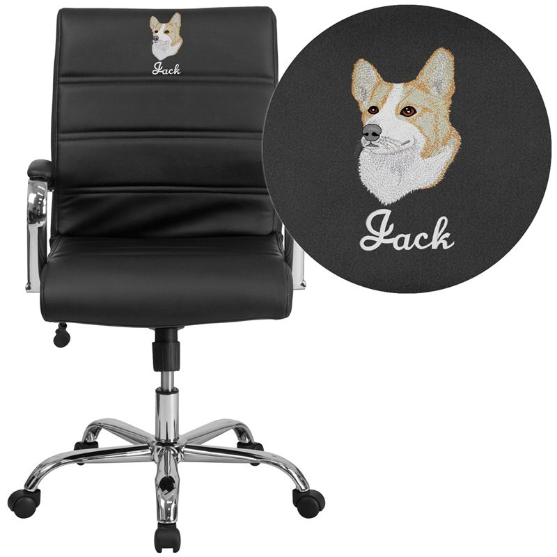 Flash Furniture Embroidered Mid-Back Black Leather Executive Swivel Chair with Chrome Base and Arms (GO-2286M-BK-EMB-GG)