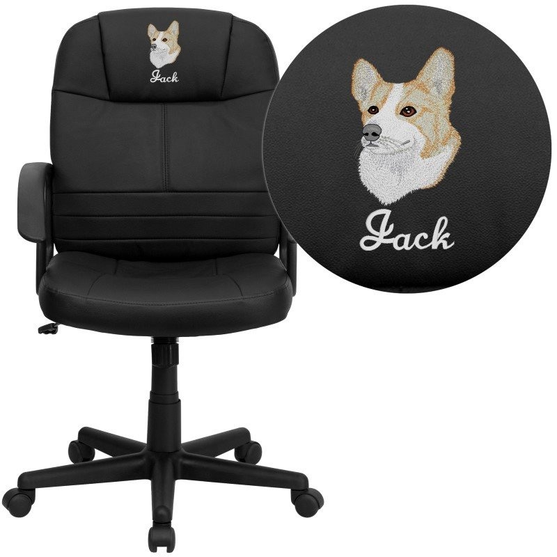 Flash Furniture Embroidered Mid-Back Black Leather Executive Swivel Office Chair (BT-8075-BK-EMB-GG)