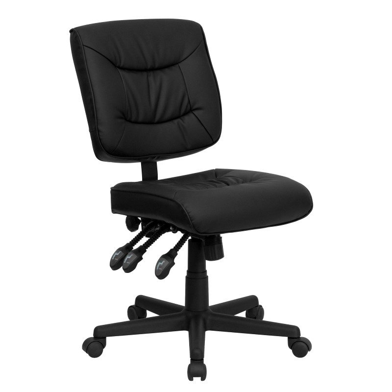 Flash Furniture Embroidered Mid-Back Black Leather Multi-Functional Swivel Task Chair (GO-1574-BK-EMB-GG)