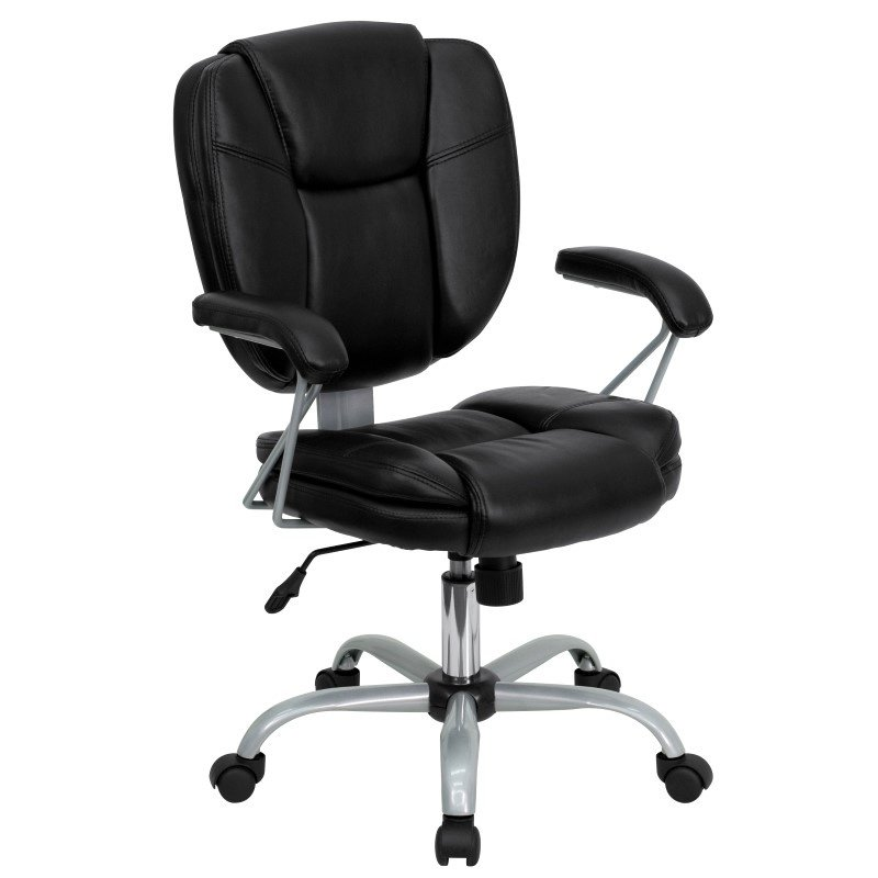 Flash Furniture Embroidered Mid-Back Black Leather Swivel Task Chair (GO-930-BK-EMB-GG)