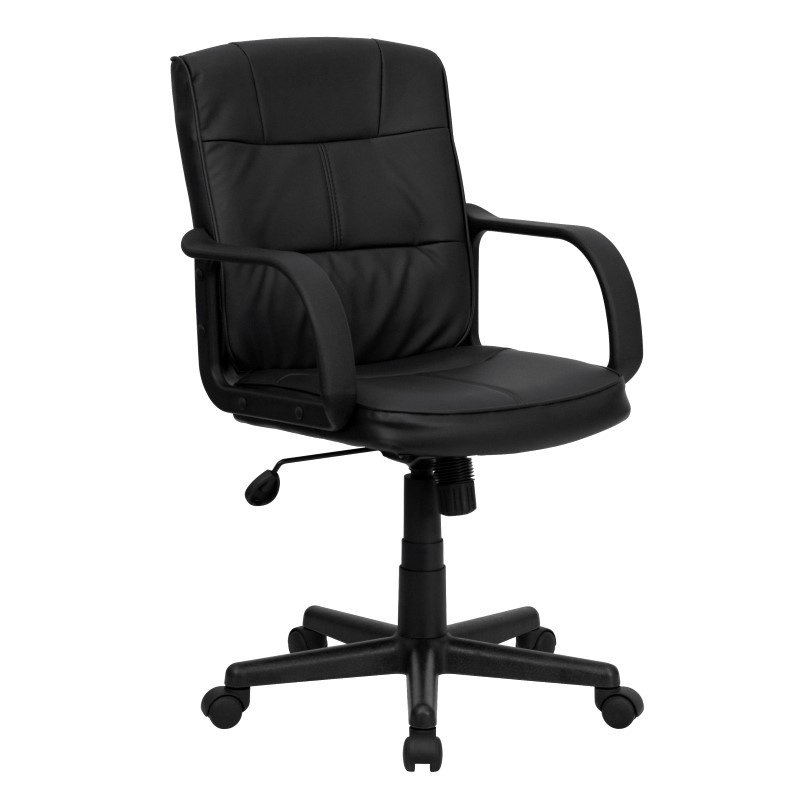Flash Furniture Embroidered Mid-Back Black Leather Swivel Task Chair with Nylon Arms (GO-228S-BK-LEA-EMB-GG)