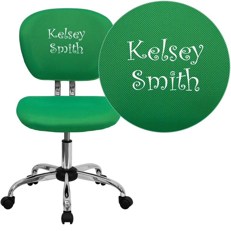 Flash Furniture Embroidered Mid-Back Bright Green Mesh Swivel Task Chair with Chrome Base