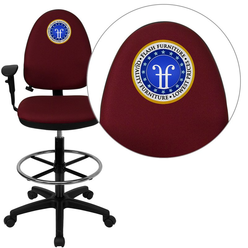 Flash Furniture Embroidered Mid-Back Burgundy Fabric Multi-Functional Drafting Chair with Adjustable Lumbar Support (WL-A654MG-BY-AD-EMB-GG)