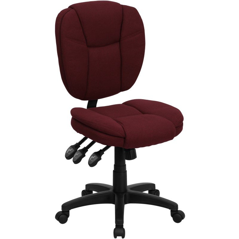 Flash Furniture Embroidered Mid-Back Burgundy Fabric Multi-Functional Ergonomic Swivel Task Chair (GO-930F-BY-EMB-GG)