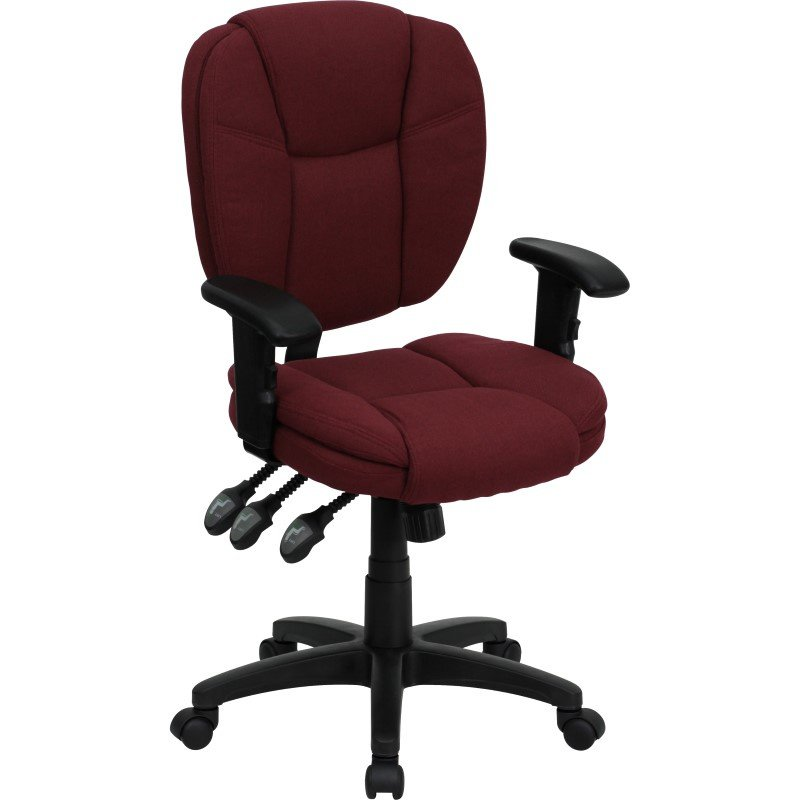 Flash Furniture Embroidered Mid-Back Burgundy Fabric Multi-Functional Ergonomic Swivel Task Chair with Height Adjustable Arms (GO-930F-BY-ARMS-EMB-GG)
