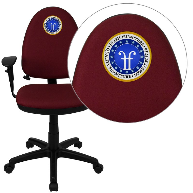 Flash Furniture Embroidered Mid-Back Burgundy Fabric Multi-Functional Swivel Task Chair with Adjustable Lumbar Support (WL-A654MG-BY-A-EMB-GG)