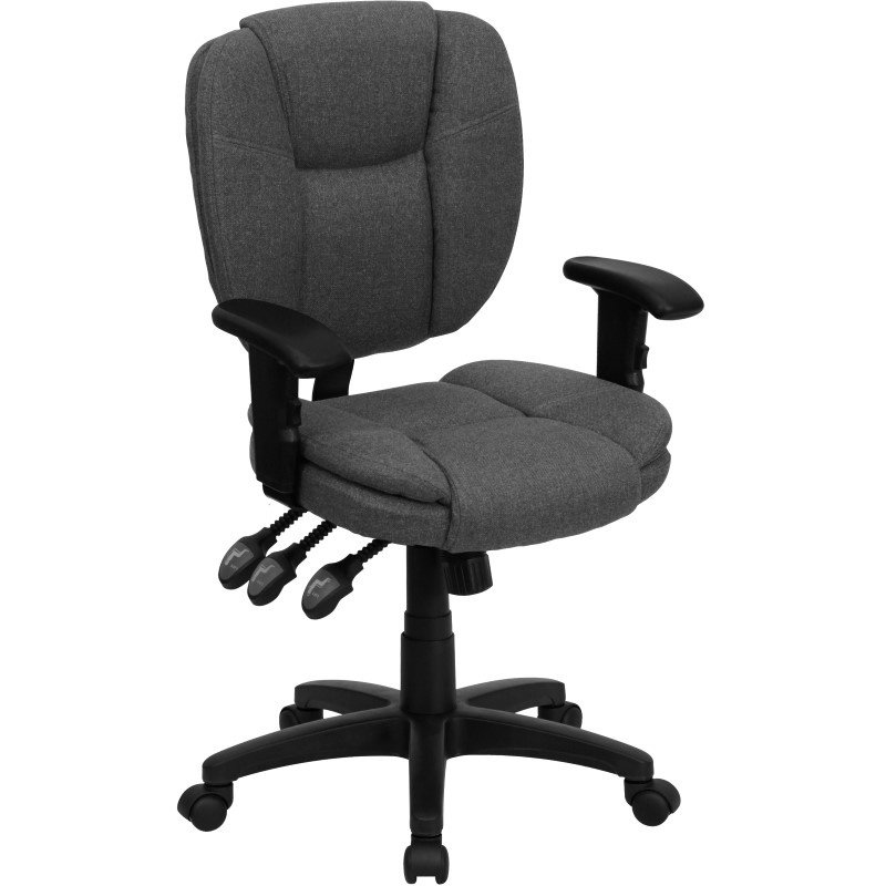 Flash Furniture Embroidered Mid-Back Gray Fabric Multi-Functional Ergonomic Swivel Task Chair with Height Adjustable Arms (GO-930F-GY-ARMS-EMB-GG)