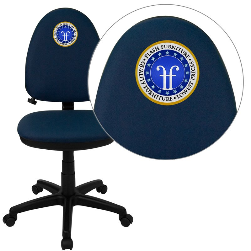 Flash Furniture Embroidered Mid-Back Navy Blue Fabric Multi-Functional Swivel Task Chair with Adjustable Lumbar Support (WL-A654MG-NVY-EMB-GG)