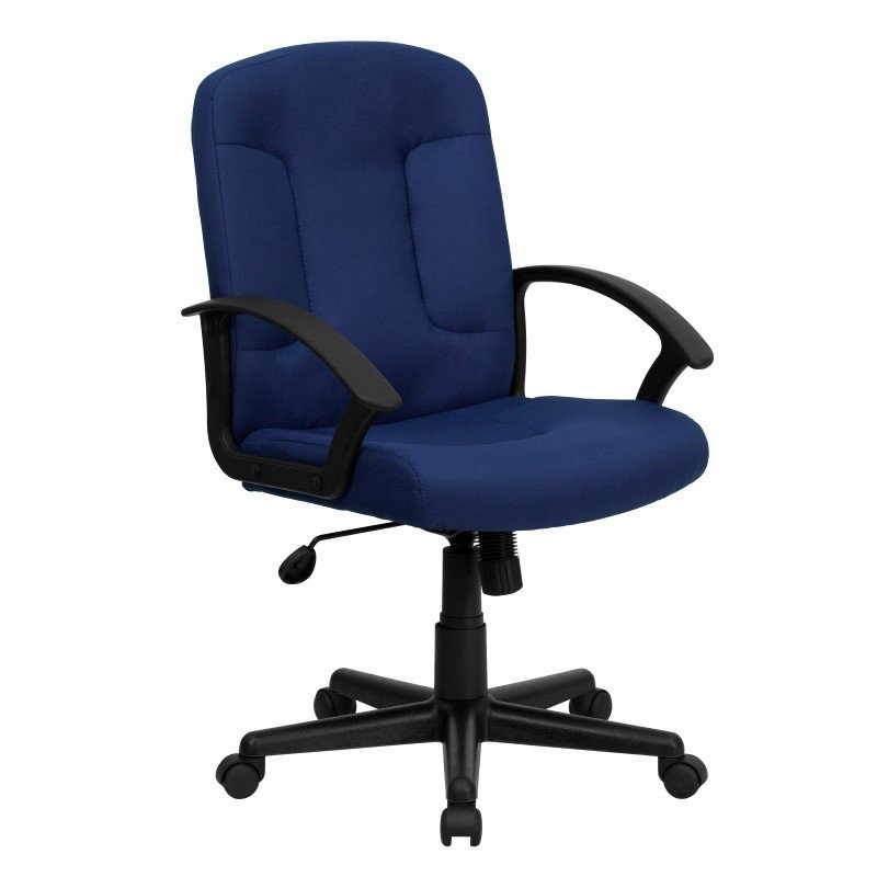 Flash Furniture Embroidered Mid-Back Navy Fabric Executive Swivel Office Chair with Nylon Arms (GO-ST-6-NVY-EMB-GG)