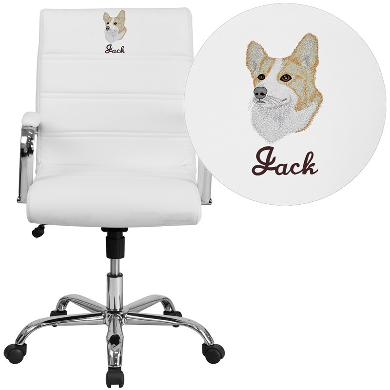 Flash Furniture Embroidered Mid-Back White Leather Executive Swivel Chair with Chrome Base and Arms (GO-2286M-WH-EMB-GG)