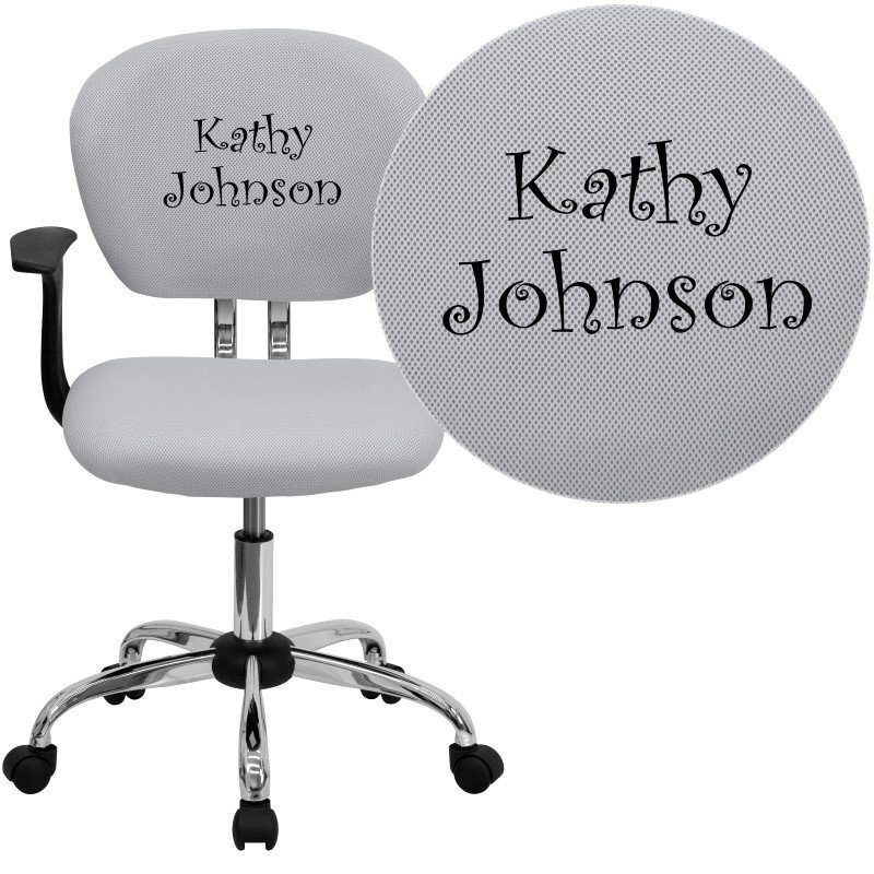Flash Furniture Embroidered Mid-Back White Mesh Swivel Task Chair with Chrome Base and Arms