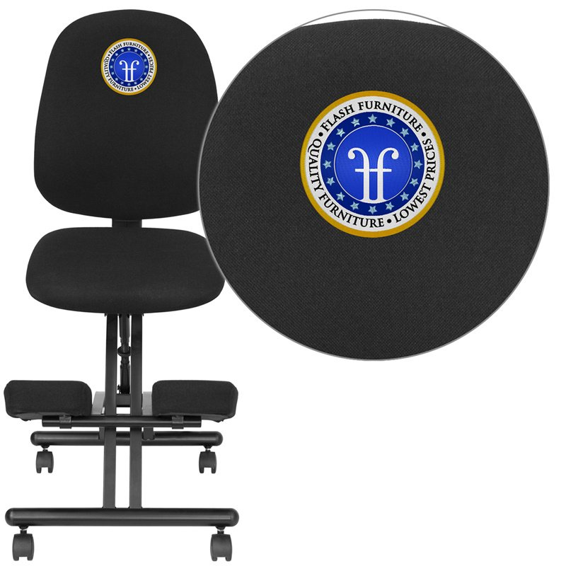 Flash Furniture Embroidered Mobile Ergonomic Kneeling Posture Chair with Back in Black Fabric (WL-1428-EMB-GG)