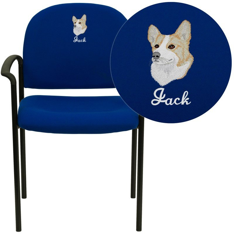 Flash Furniture Embroidered Navy Fabric Comfortable Stackable Steel Side Chair with Arms (BT-516-1-NVY-EMB-GG)