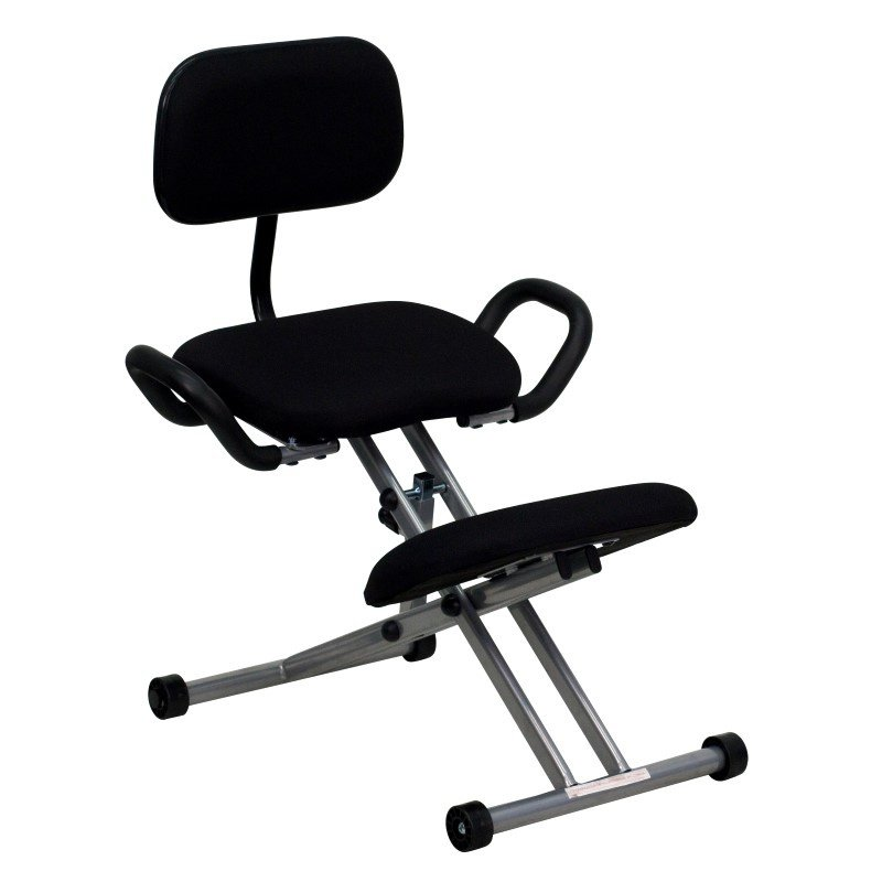 Flash Furniture Ergonomic Kneeling Chair in Black Fabric with Back and Handles