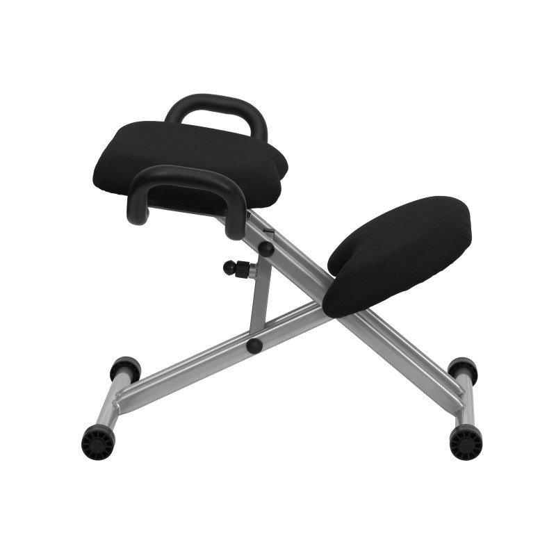 Flash Furniture Ergonomic Kneeling Chair in Black Fabric with Handles