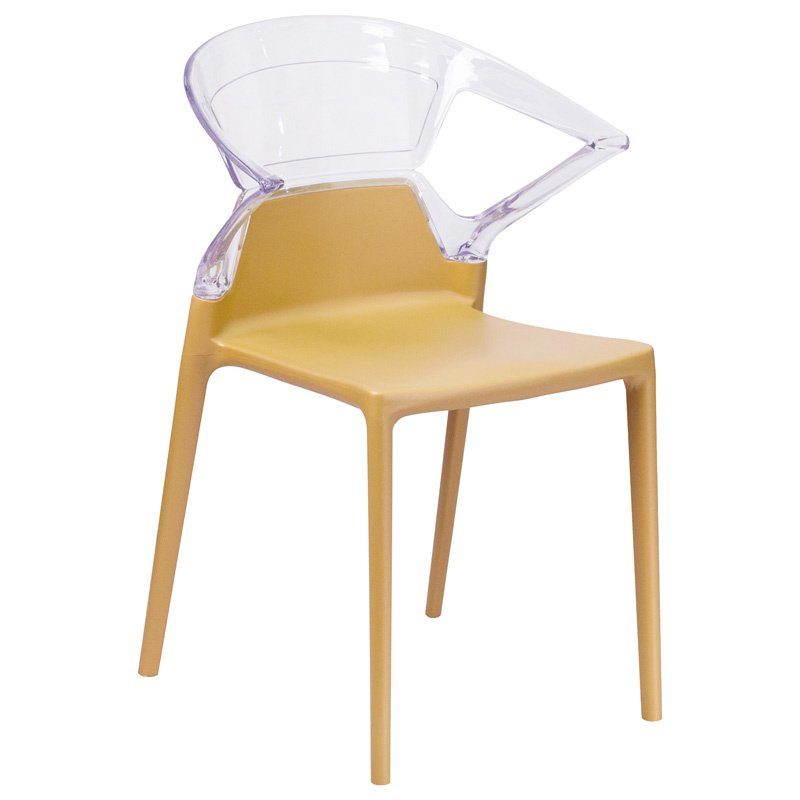 Flash Furniture Fascination Series Plastic Stacking Side Chair with Gold Seat and Transparent Back