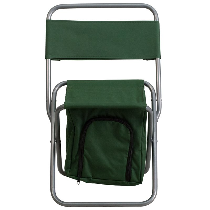 Flash Furniture Folding Camping Chair with Insulated Storage in Green (TY1262-GN-GG)