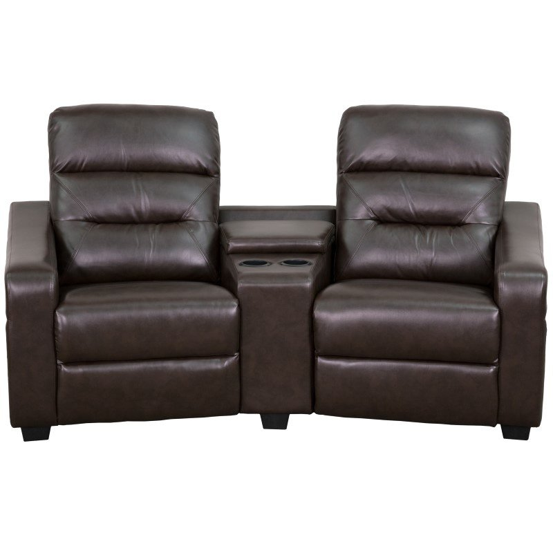 Flash Furniture Futura Series 2-Seat Reclining Brown Leather Theater Seating Unit with Cup Holders