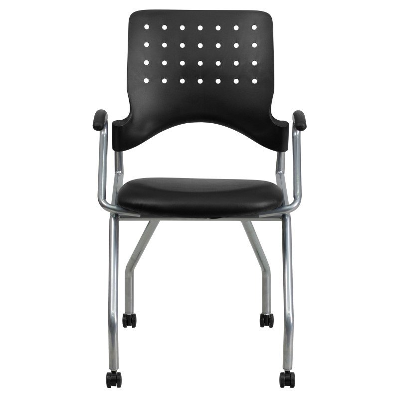 Flash Furniture Galaxy Mobile Nesting Chair with Arms and Black Leather Seat