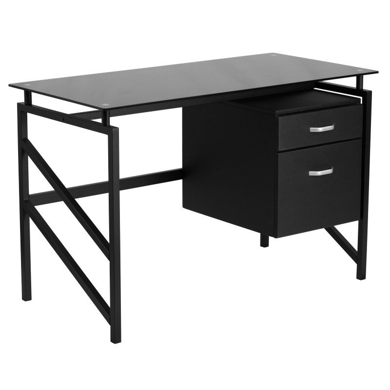 Flash Furniture Glass Desk with Two Drawer Pedestal