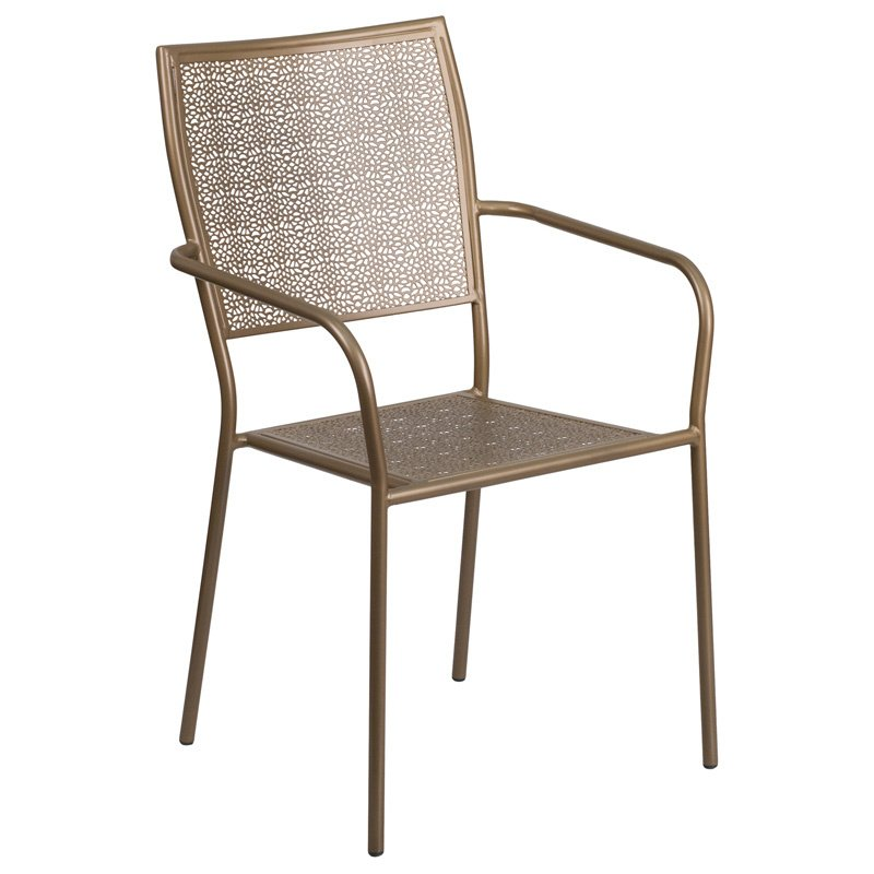 Flash Furniture Gold Indoor-Outdoor Steel Patio Arm Chair with Square Back