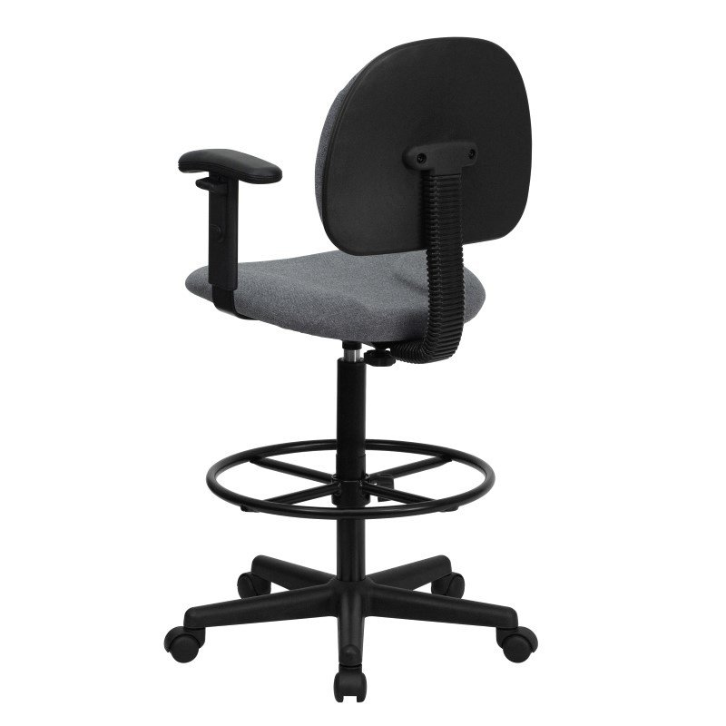Flash Furniture Gray Fabric Ergonomic Drafting Chair with Height Adjustable Arms (Adjustable Range 22.5''-27''H or 26''-30.5''H)
