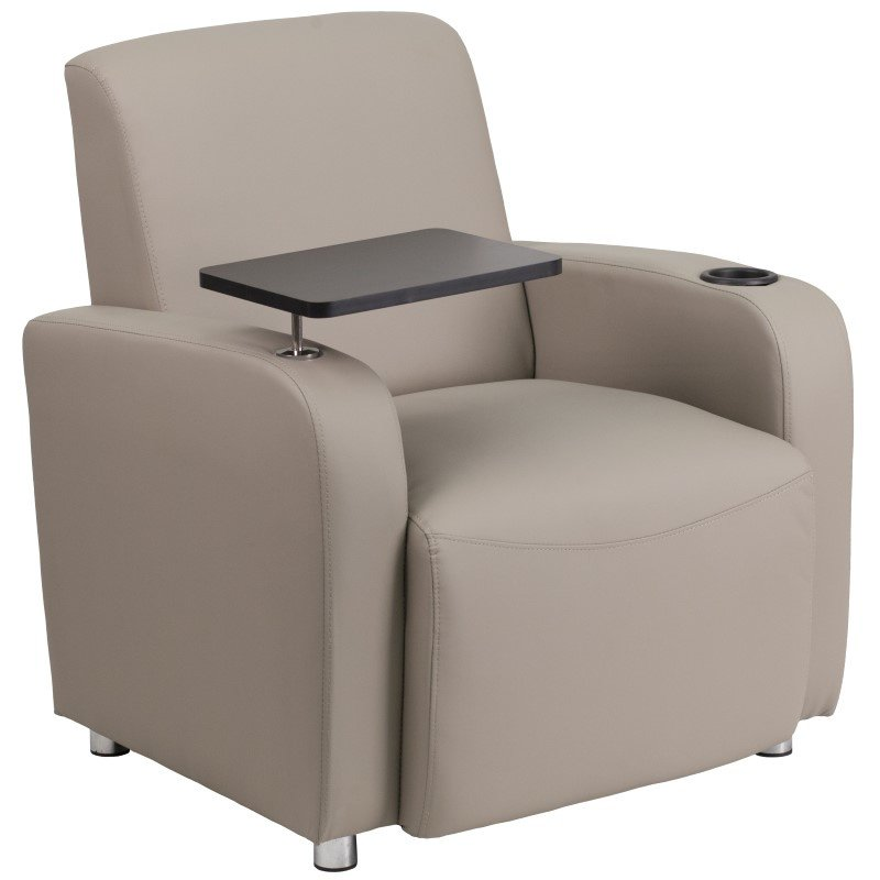 Flash Furniture Gray Leather Guest Chair with Tablet Arm' Chrome Legs and Cup Holder