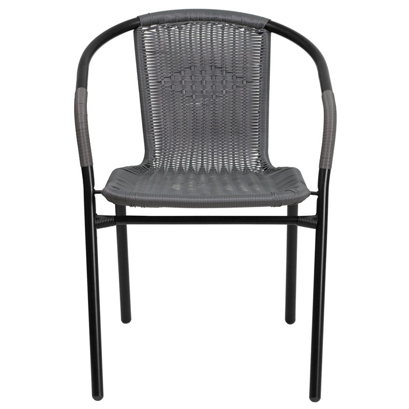 Flash Furniture Gray Rattan Indoor-Outdoor Restaurant Stack Chair (TLH-037-GY-GG)