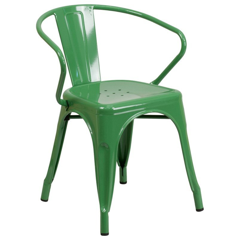 Flash Furniture Green Metal Indoor-Outdoor Chair with Arms