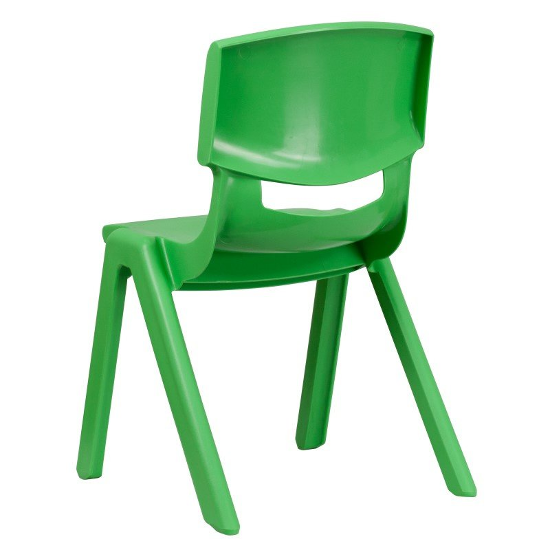 Flash Furniture Green Plastic Stackable School Chair with 15.5'' Seat Height