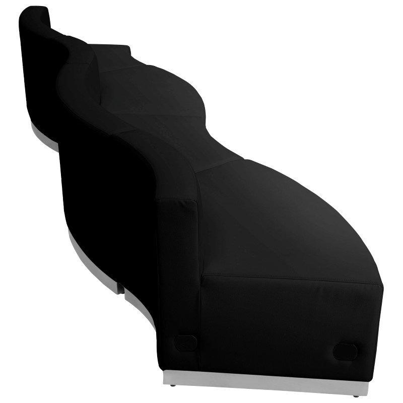 Flash Furniture HERCULES Alon Series Black Leather Reception Configuration 4 Pieces