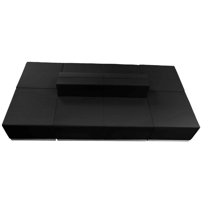 Flash Furniture HERCULES Alon Series Black Leather Reception Configuration -6 Pieces