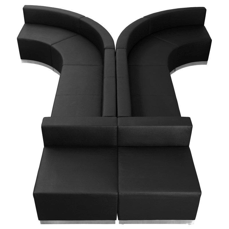 Flash Furniture HERCULES Alon Series Black Leather Reception Configuration -8 Pieces