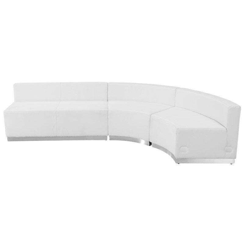 Flash Furniture HERCULES Alon Series White Leather Reception Configuration 3-Pieces