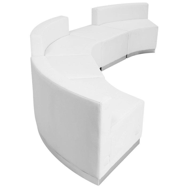 Flash Furniture HERCULES Alon Series White Leather Reception Configuration (5-Pieces)