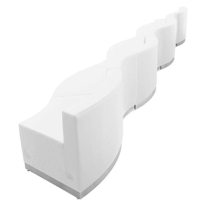 Flash Furniture HERCULES Alon Series White Leather Reception Configuration - 7 Pieces