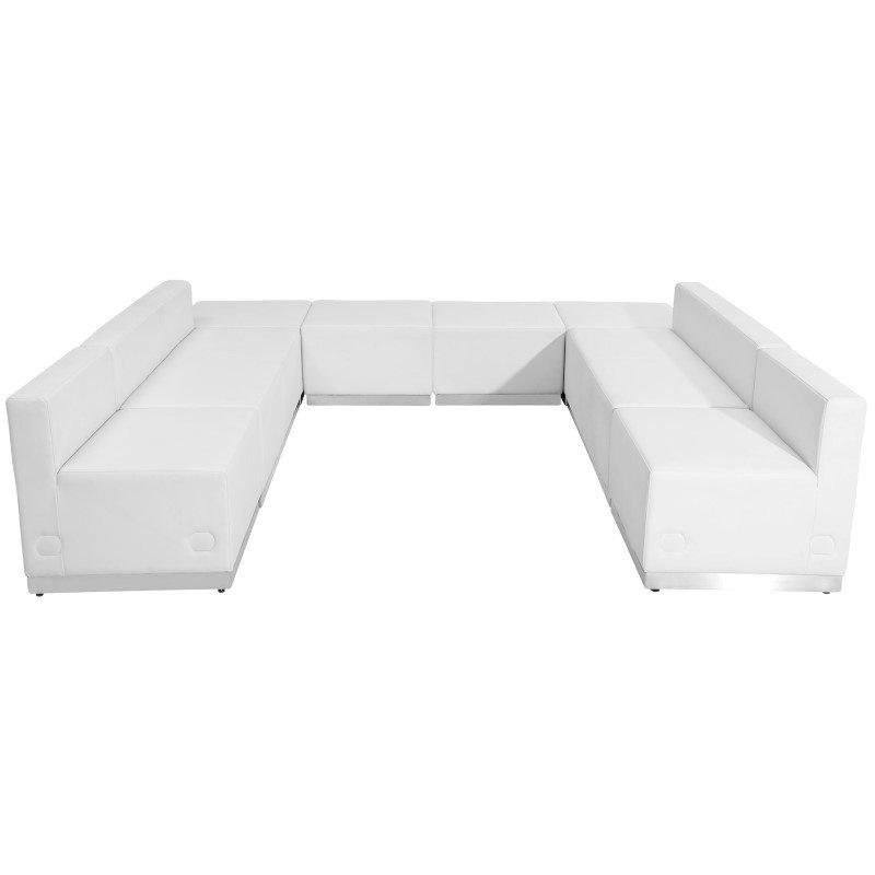 Flash Furniture HERCULES Alon Series White Leather Reception Configuration- 8 Pieces